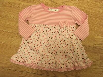 M & Co Baby Girls Striped/ Floral Dress With Underneath Bodysuit 6-9 Months