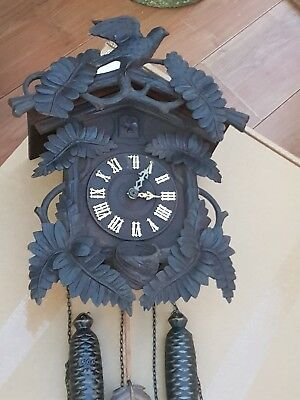 Antique Carved Black Forest Cuckoo Clock For Restoration Automaton Project