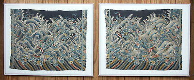 Pair Antique Chinese Silk Embroidery Panels