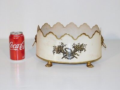 ANTIQUE Vintage Italian Tole Beige Shabby Claw Footed Lion's Face Cache Pot