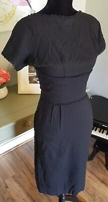 Gorgeous VINTAGE Dress!! 1950's dresstown Inc. All black with low sexy back!