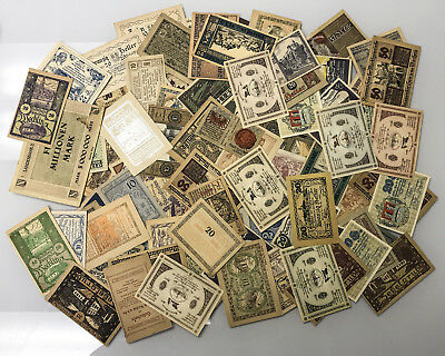 Lot of 100 German Notgeld Currency Notes Nice Assortment From Old Estate
