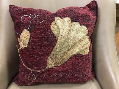 Datura Flower elegant Chenille throw accent Jacquard Woven Tapestry Pillow NEW