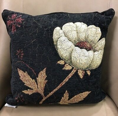 Peony Flower elegant Chenille throw accent Jacquard Woven Tapestry Pillow NEW
