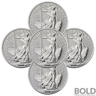 2018 .999 1 oz Silver Great Britain Britannia Oriental Borders Capsule - 5 Coins