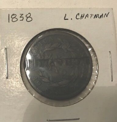 "1838 Large Cent WITH ""l. CHAPMAN"" COUNTER STAMPED REVERSE"