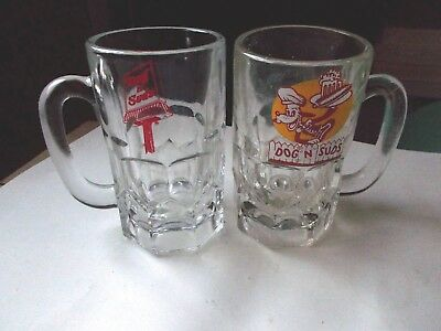 "2x Two Vintage Dog N Suds Root Beer Glass Mugs 6"" Tall  Heavy Glass Original"
