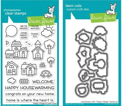 LF2169, LF2170 Bundle of 2 Items Lawn Fawn Stud Puffin 2x3 Clear Stamps and Coordinating Custom Dies
