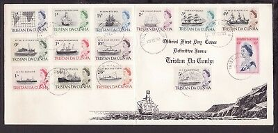 TRISTAN DA CUNHA 1965 QE2 SHIPS STAMPS SET to 10s in ILLUSTRATED FIRST DA COVER