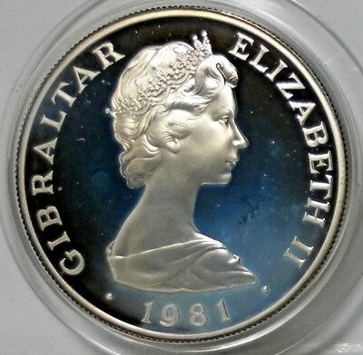 1981 GIBRALTAR PROOF ROYAL WEDDING ONE CROWN 925 SILVER COIN WEIGHT 28.2 Grams
