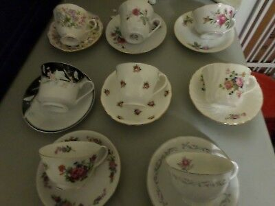 Lot of 8 Tea Cups and Saucer Sets  8-2