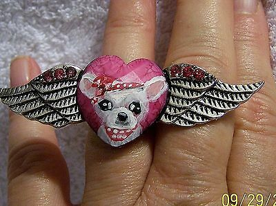 hand painted Chihuahua faceted crystal wing heart  ring,one size fits most