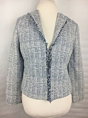 Banana Republic Blazer 10 P Womens Luxury Italian Flannel Career White Blue NWT