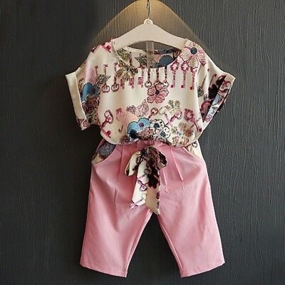 AU 2PCS Kid Baby Girl Floral Short Sleeve T-shirt Tops+ Pant Set Outfits Clothes