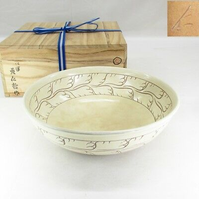 G088 Korean pottery bowl KASHIKI of traditional KAKI-OTOSHI pattern w/signed box