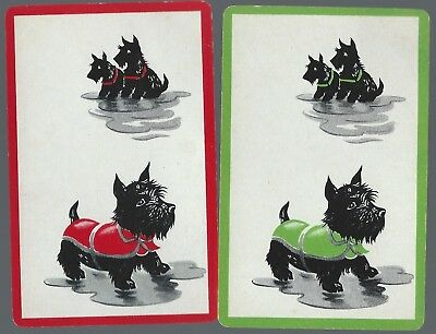 Swap Playing Vintage Cards  x 2  Dogs   Green & Red Borders