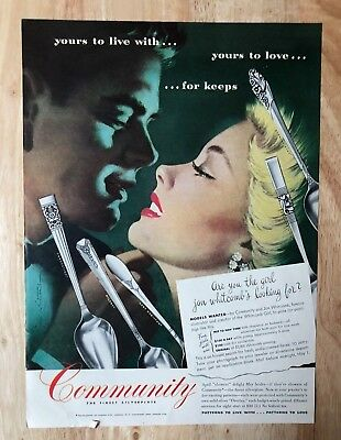 Advertising Original Print Ad 1946 Community Silverplate This Is For Keeps Jon Whitcomb Advertising-print