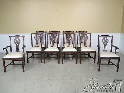 L35793: Set 10 HENKEL HARRIS #102 Chippendale Mahogany Dining Room Chairs ~ New