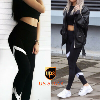 Women Sports Pants Yoga Fitness Leggings High Waist Running Gym Stretch Trousers