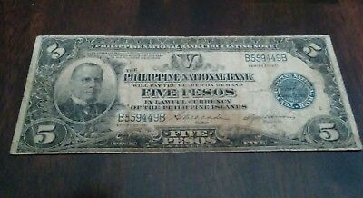 1921 5 Pesos Philippine National Bank Banknote Note  Philippines