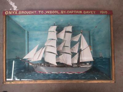 "Diorama, tall ship, ""Onyx"", early 1900s, antique"