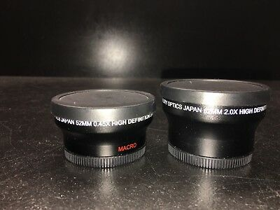 2 Merkury Optics Lenses 52mm Wide Angle 0.45X (with Marcro) Lens and 2.0X Lens