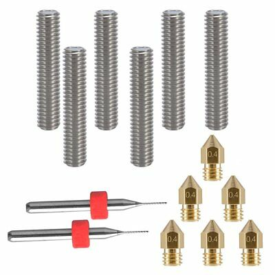 EAONE 6pcs 30MM Length Extruder 1.75MM Tube and 6pcs 0.4MM Brass Extruder Nozzle
