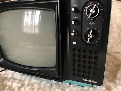 Panasonic Solid State TR-562A Blue Television w/ Push Handle - HTF Vintage WORKS