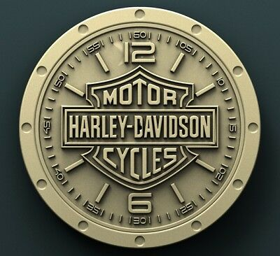 3d STL Model Relief for CNC Router Aspire Artcam _ Harley Davidson Wall Clock