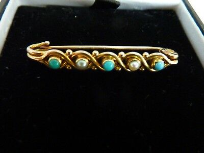 Victorian/edwardian 9 Carat Gold Turquoise & Seed Pearl Bar Brooch In Ex Cond.