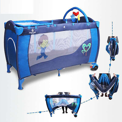 All-in-1 Baby Travel Cot/Playpen/Playyard/Bassinet/Storage/Changing Station Blue