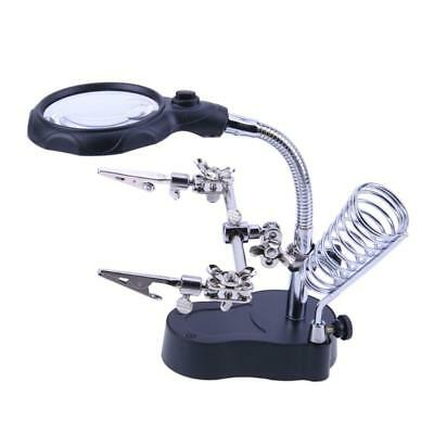 LED Soldering Iron Stand Helping Hands Magnifying Glass Magnifier Auxilia Gift