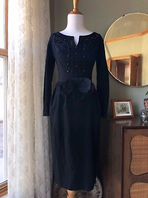 50s Betty Carol Dress MAM'SELLE Black Beaded Crepe Soutache Trim Cocktail Wiggle