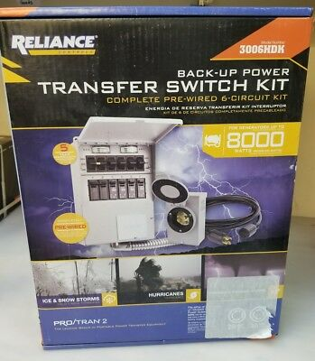 NEW Reliance Back-Up Power Transfer Switch Kit 306LRK - 6 Circuit 3000 watt