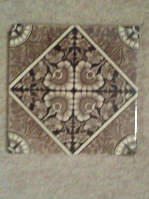 Victorian transfer print tile floral brown cream 6 inch