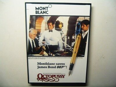 Framed 007 book-print ROGER MOORE Montblanc Pen ad Octopussy .. saves James Bond