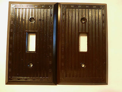 2 Vintage Art Deco Brown Bakelite Uniline Switch Plates Ribbed Light Toggle