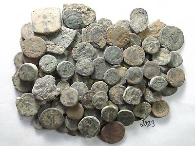 Lot of 100 Very Low Quality Uncleaned Ancient Roman/Greek Coins; 132.6 Grams!