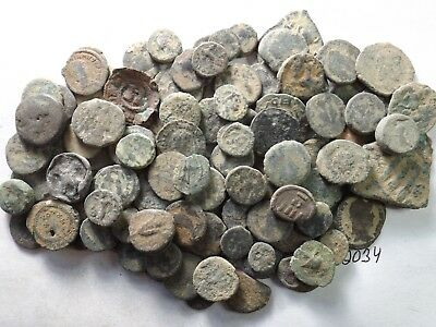 Lot of 100 Very Low Quality Uncleaned Ancient Roman/Greek Coins; 142.8 Grams!