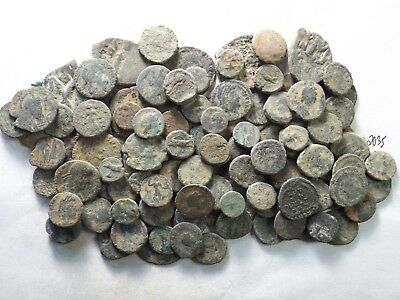 Lot of 100 Very Low Quality Uncleaned Ancient Roman/Greek Coins; 161.3 Grams!