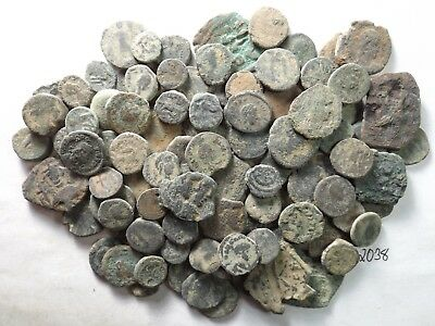 Lot of 100 Very Low Quality Uncleaned Ancient Roman/Greek Coins; 165.1 Grams!