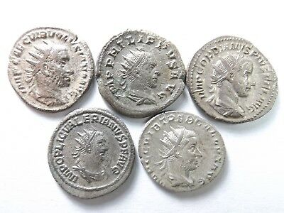 Lot of 5 Higher Quality Ancient Roman Silver Coins; Volusian,Gallus; 13.3 Grams!