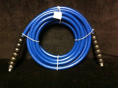"""Blue Non-Marking PRESSURE WASHER HOSE 3/8"""" I.D. x 25ft 4,000 PSI Cpld MPT x MS"""