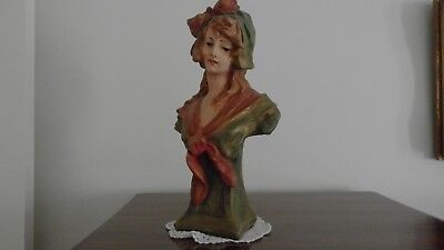 French Peasant Girl Bust Statue