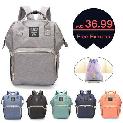 Waterproof Backpack Large Mummy Nappy Diaper Bag Baby Travel Changing Nursing AU