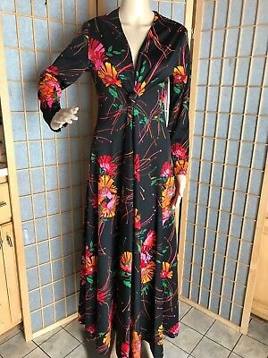 vintage 70's floral maxi dress ruched knot detail bodice S