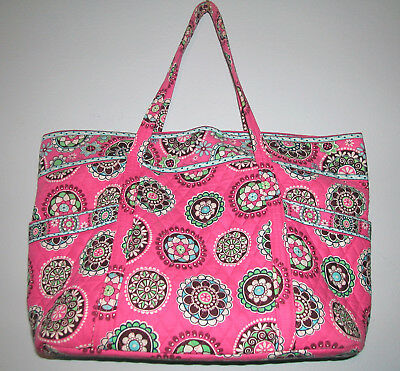 "Vera Bradley Grand Tote Bag 17 ¼"" w x 15"" h x 7 ½"" d  Drop is 12 Pink Multicolor"
