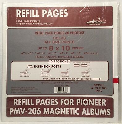 "Pioneer Refill Pages PMV-206 Magnetic Albums 8"" x 10"" X-Pando Post 5 Sheets"