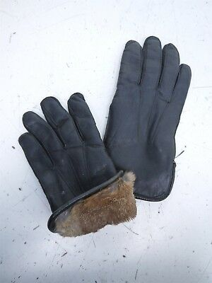 Unisex Black Leather Rabbit Fur Lined Outdoor Dress Gloves Size Small