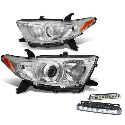 For 2011-2013 Toyota Highlander Clear Projector Headlights Amber Reflectors